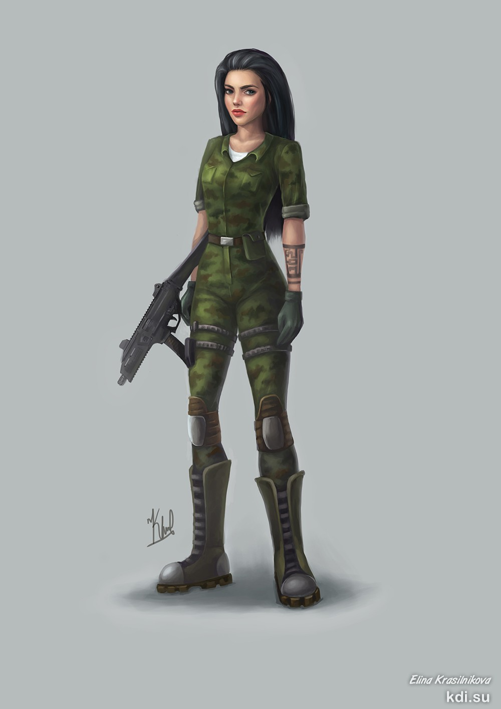Drawn Girl soldier