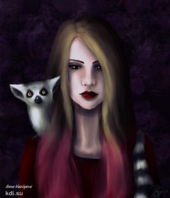 Drawn Girl with lemur