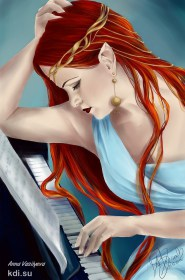 Drawn Woman at the piano