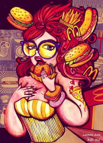 Drawn A woman, a lover of fast food