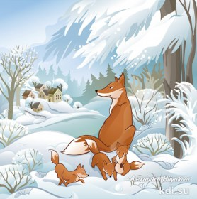 Drawn Fox family