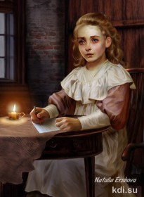 Drawn Girl with letter