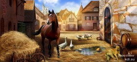 Drawn The old town, the horse, the dog and the geese