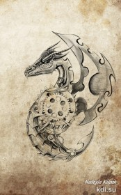 Drawn mechanical dragon
