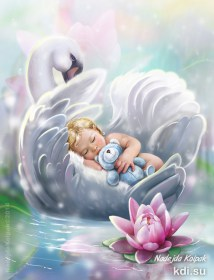 Drawn The baby and the Swan