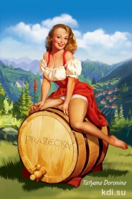 Girl and wine illustration