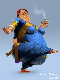 Eastern fat woman with tea