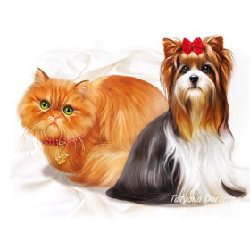 Drawn Dog and cat
