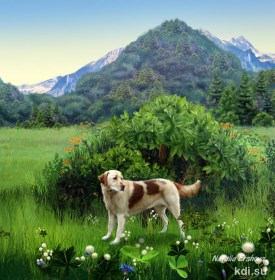 Drawn Dog, grass, mountains