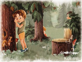Drawn Childrens in woods