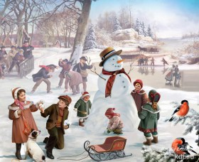 Drawn Children and snowman, winter games
