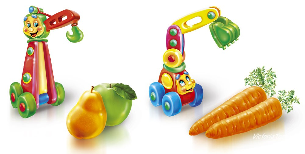 Toys and fruit